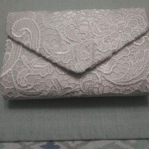 "White ""Lace"" Clutch Purse"